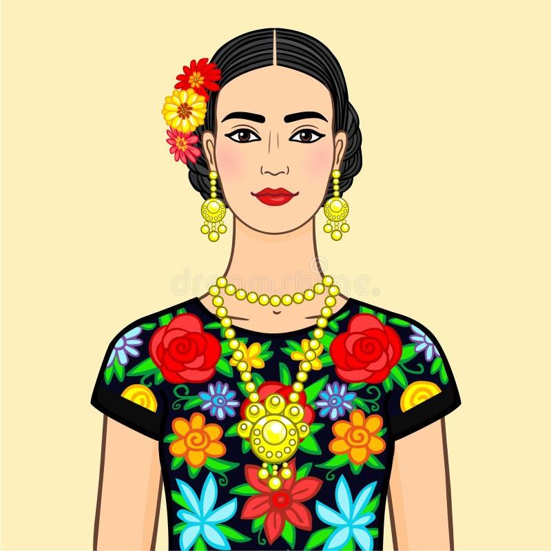 Porträt die schöne mexikanische Frau in der nationalen Kleidung Lokalisiert auf einem beige Hintergrund lizenzfreie abbildung