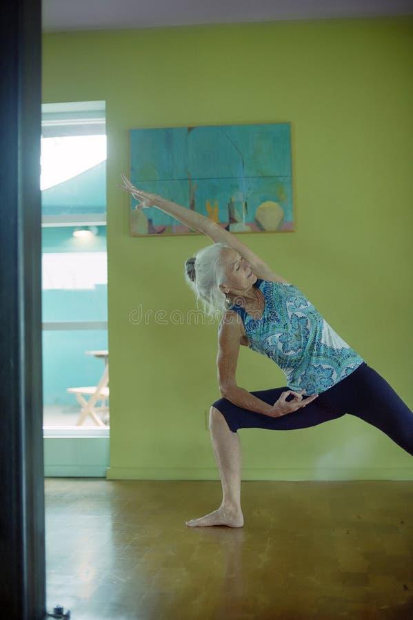 Porträt eine des gefühlvollen älteren Frauen-Jogis lizenzfreie stockfotos
