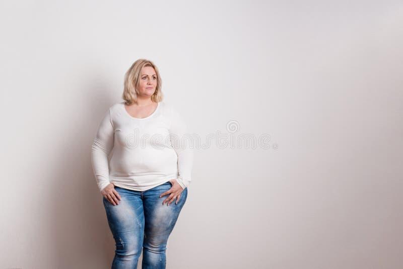 Porträt einer attraktiven überladenen Frau im Studio auf einem weißen Hintergrund lizenzfreie stockfotografie