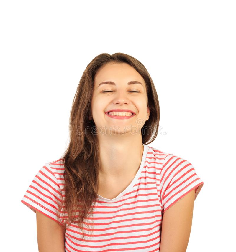 Porträt einer attraktiven lächelnden jungen Brunettefrau emotionales Frohlockenmädchen lokalisiert auf weißem Hintergrund stockbilder