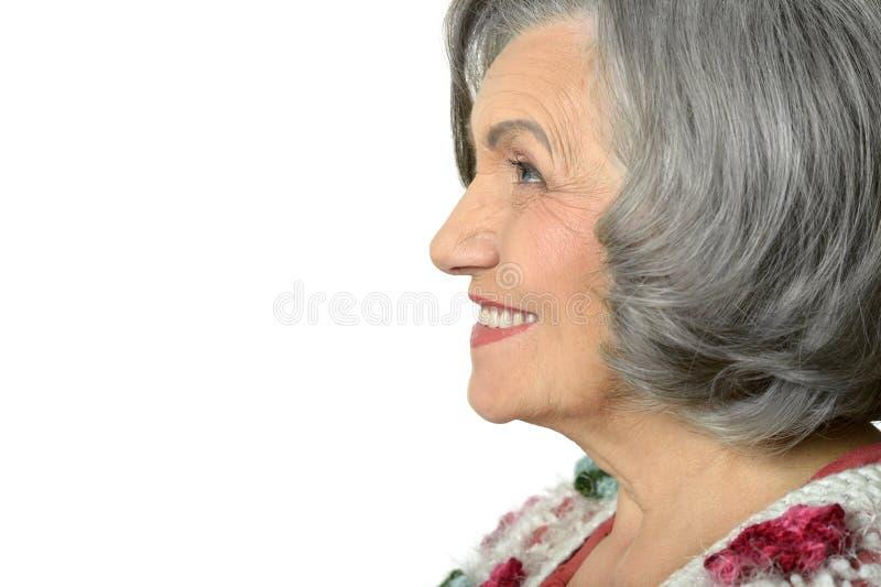 Porträt einer denkenden älteren Frau stockbilder