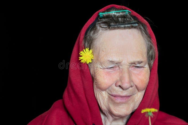 Porträt einer Frau mit dem grauen Haar mit einem Lächeln, das eine Löwenzahnblume betrachtet stockfotografie