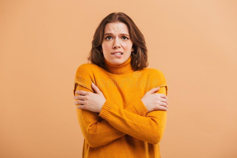 Porträt einer gefrorenen jungen Frau in der Strickjacke stockfotos