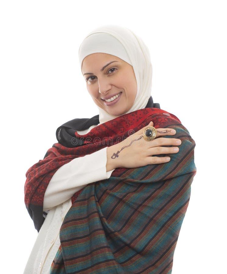 Porträt einer glücklichen moslemischen Frau lizenzfreie stockbilder