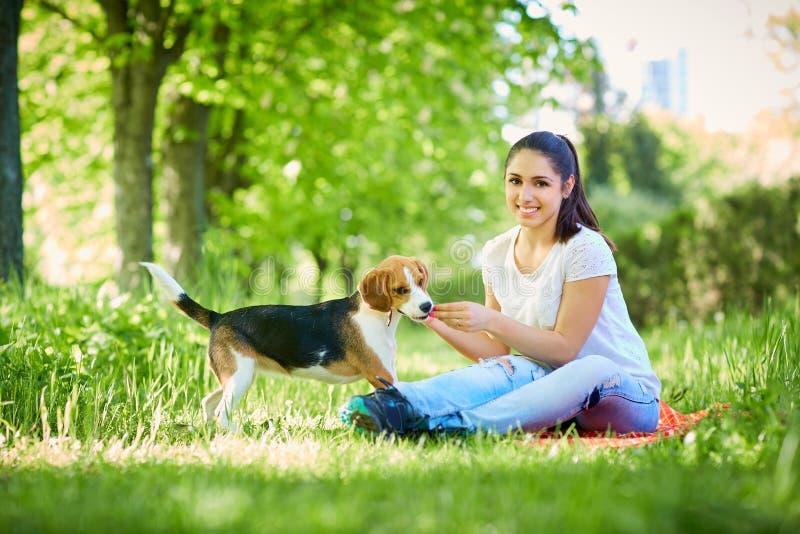Porträt einer jungen Frau mit ihrem Hund im Park stockbilder