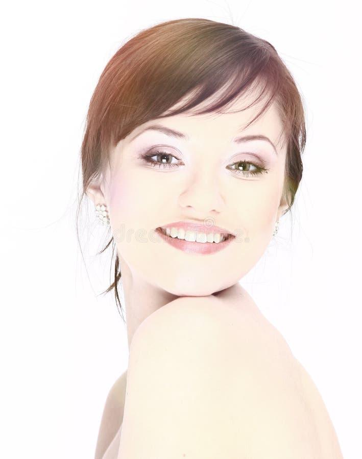 Porträt einer jungen Frau mit Make-up lokalisiert auf Weiß lizenzfreies stockfoto