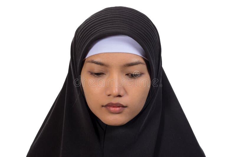 Porträt einer jungen moslemischen Frau stockfotos