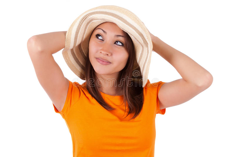 Porträt einer jungen schönen asiatischen Frau im Sommer kleidet - wie lizenzfreie stockfotos