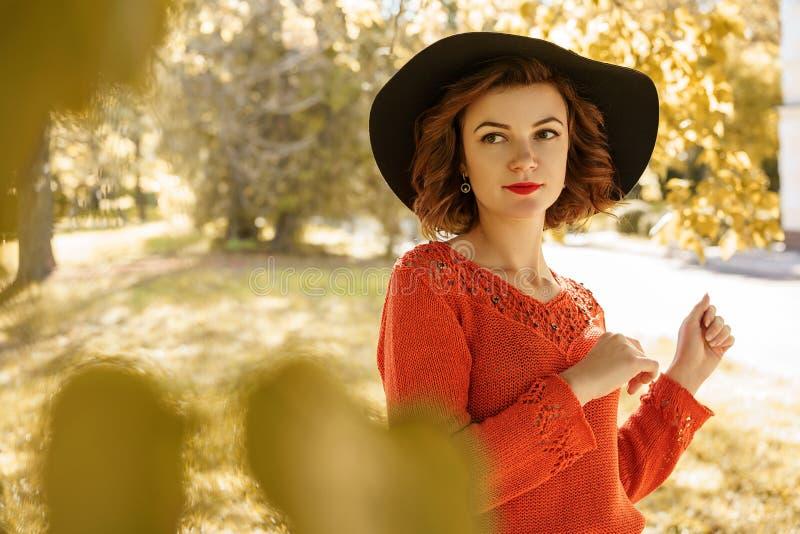 Porträt einer jungen Schönheit in einem Hut an einem sonnigen Herbsttag lizenzfreie stockfotos