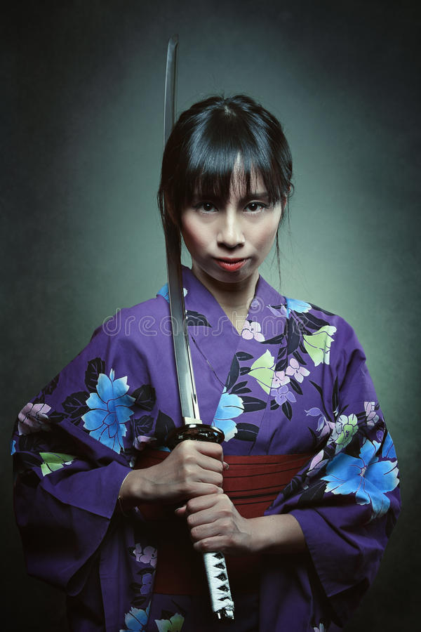 Porträt einer Samuraifrau lizenzfreies stockbild