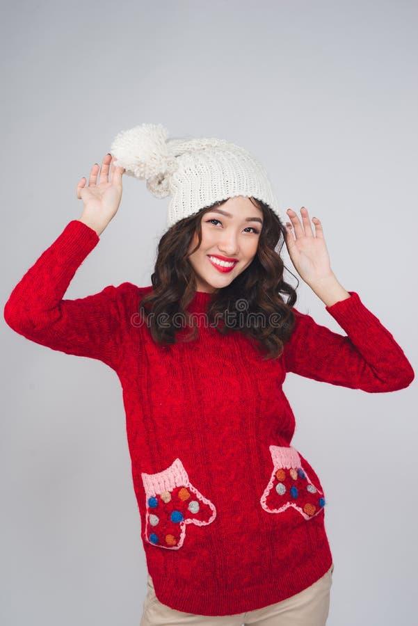 Porträt einer schönen jungen asiatischen Frau in der warmen Kleidung lizenzfreies stockfoto