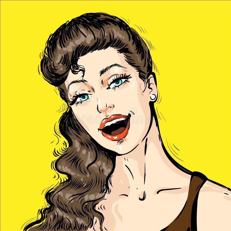 Porträt einer schönen jungen Frau mit der offenen Mundunterhaltung Vektorillustrations-Karikaturweinlese der Pop-Art komische Ret vektor abbildung