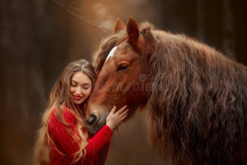 Porträt einer schönen jungen Frau mit Tinker Pferd lizenzfreie stockfotos