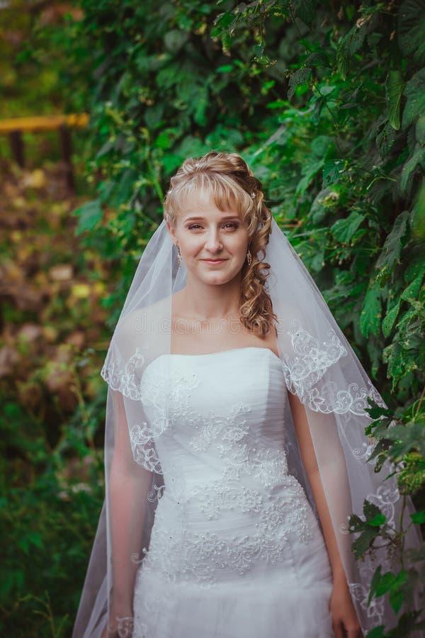 Porträt einer schönen lächelnden Braut lizenzfreies stockbild