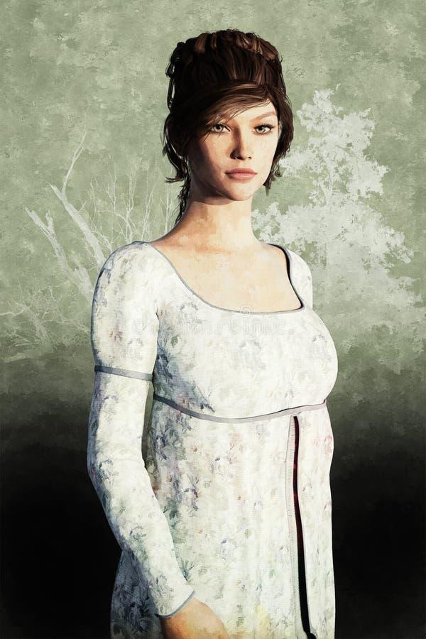 Porträt einer schönen Regency-Stil-Frau lizenzfreie abbildung