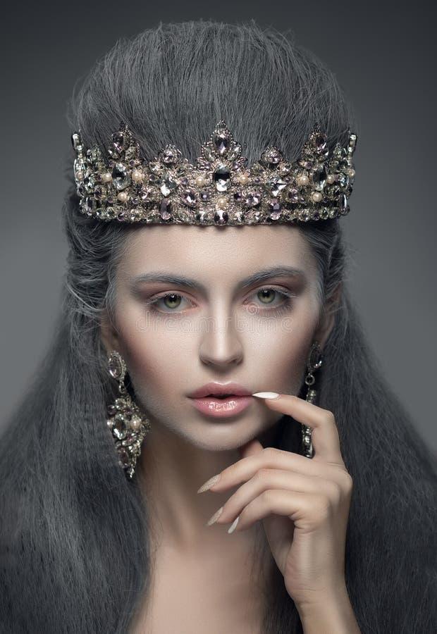 Porträt einer Schönheit in der Diamantkrone und -ohrringen lizenzfreie stockbilder