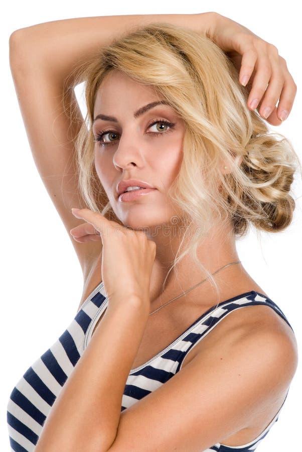 Porträt einer Schönheit mit der sauberen Haut lokalisiert lizenzfreie stockfotos