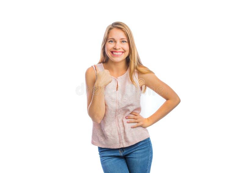 Porträt einer sexy jungen Frau, die Klasse zeigt, weibliche Gefühle, schießend auf einem lokalisierten Hintergrund stockfotografie