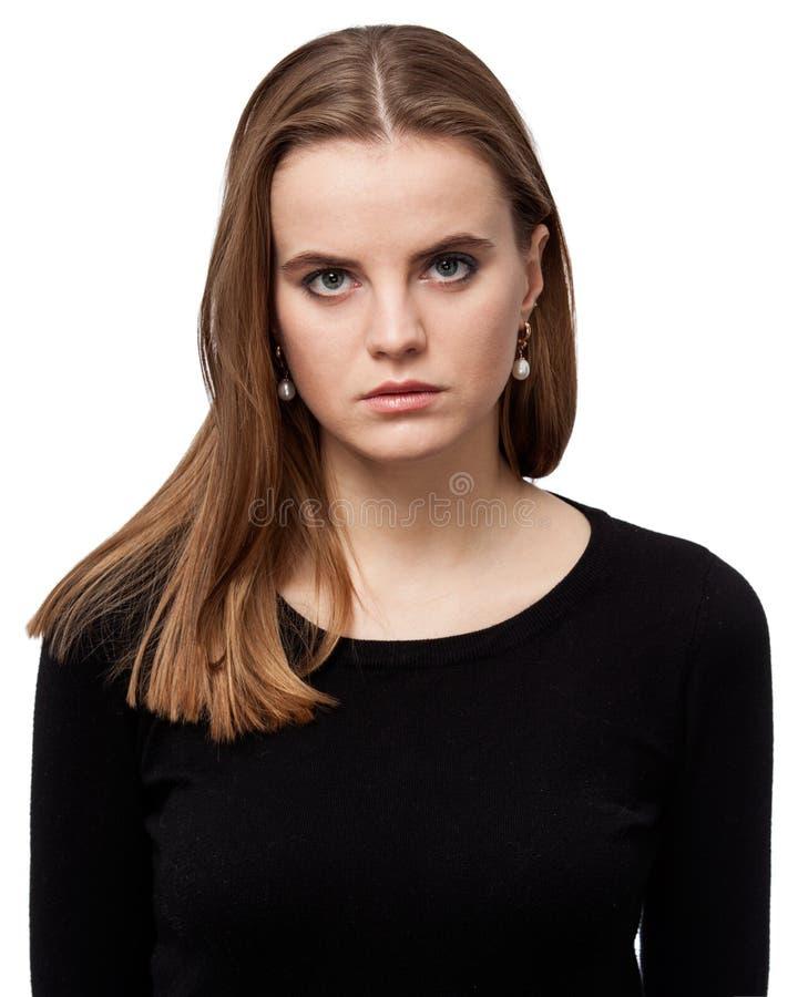 Porträt einer traurigen Frau lokalisiert auf weißem Hintergrund lizenzfreie stockfotos