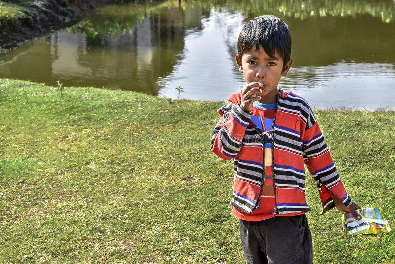 Porträt einer unschuldigen Spinne von Indien-Stellung auf einer Teichseite und von Betrachten der Kamera, das Trachtenkleid trage lizenzfreies stockfoto