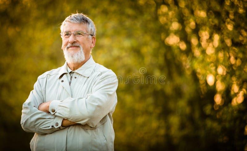 Porträt eines älteren Mannes draußen lizenzfreies stockfoto