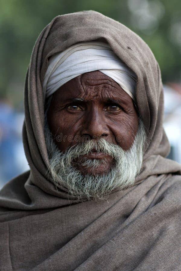 Porträt eines alten Mannes von Punjab, Indien stockfotografie