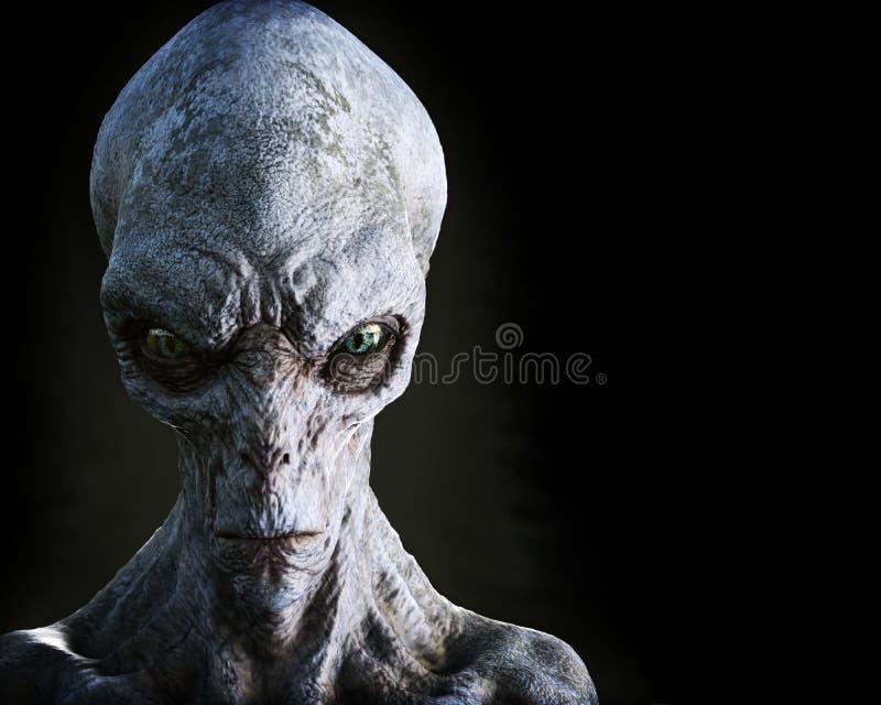 Porträt eines ausländischen männlichen Extraterrestrial auf einem dunklen Hintergrund mit Raum für Text- oder Kopienraum vektor abbildung