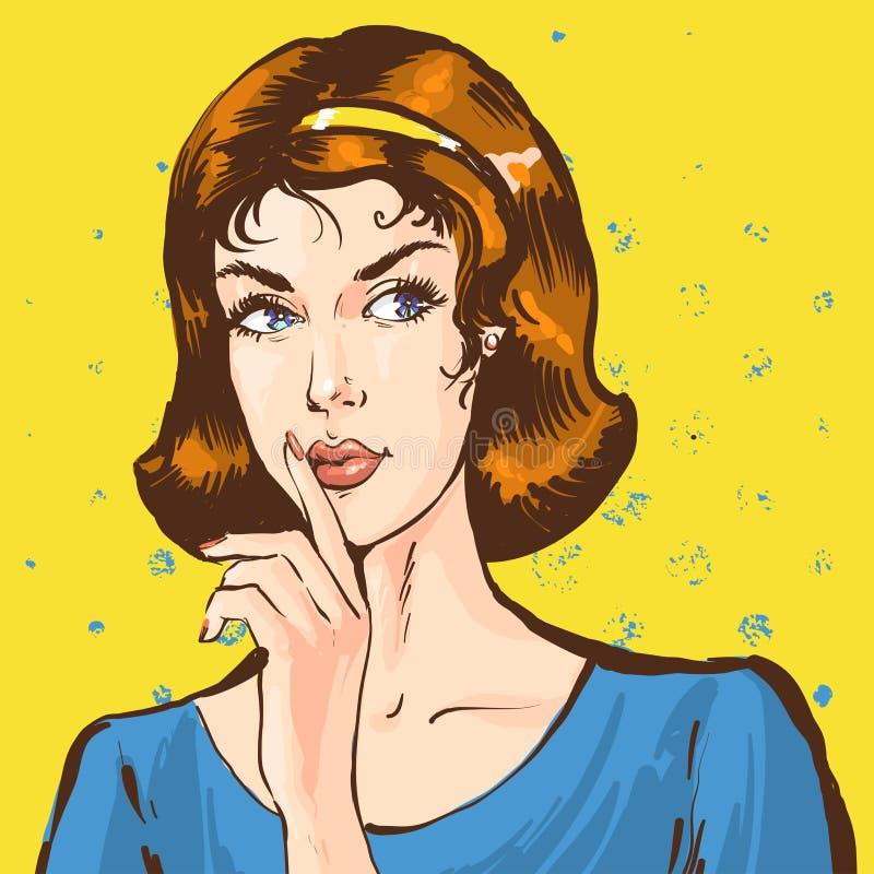 Porträt eines Darstellens der jungen Frau bringen Shhh zum Schweigen, mit dem Finger, Retro- komische Artillustration der Pop-Art lizenzfreie abbildung