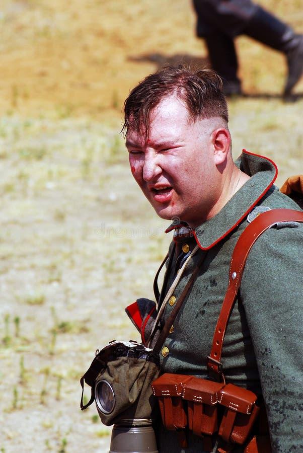 Porträt eines deutschen Soldaten-reenactor stockbild