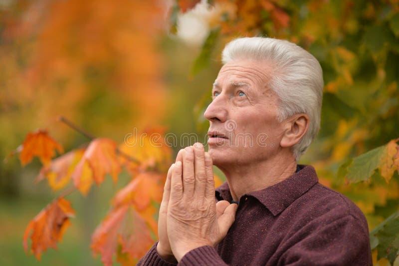 Porträt eines durchdachten älteren betenden Mannes lizenzfreies stockfoto