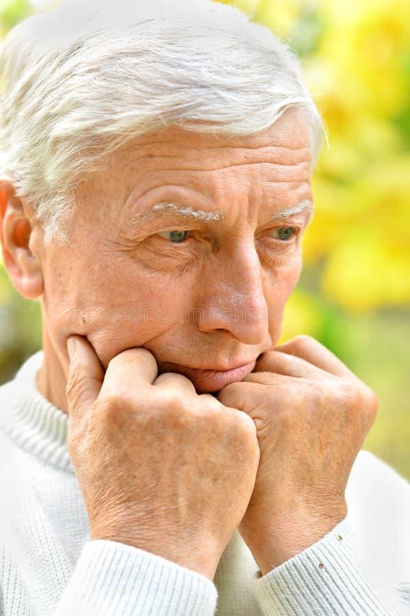 Porträt eines durchdachten älteren Mannes löst lizenzfreie stockbilder