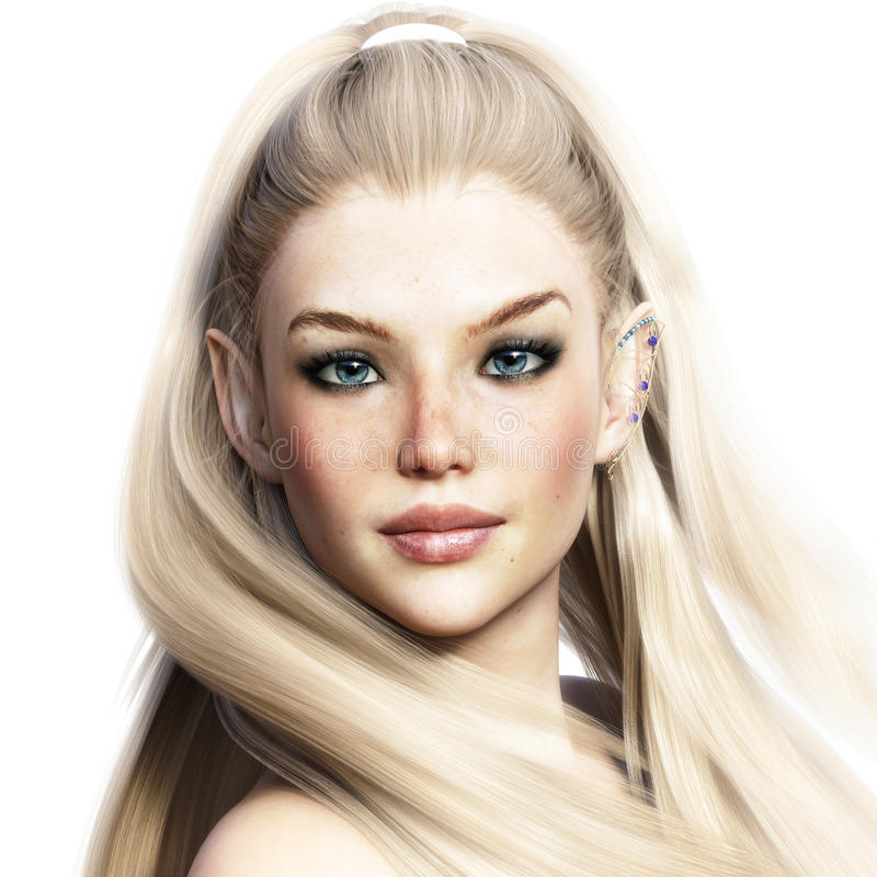 Porträt eines entzückenden Fantasiecharakters Elegante weibliche Elfe mit einem weißen Hintergrund lizenzfreie abbildung