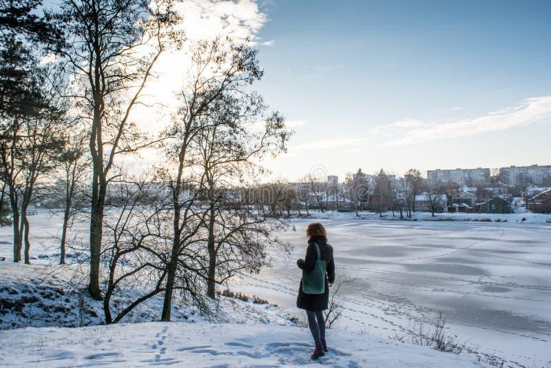 Porträt eines europäischen Mädchens des jungen schönen roten Haares, das nahen Winterwald nah an gefrorenem Fluss steht lizenzfreie stockbilder