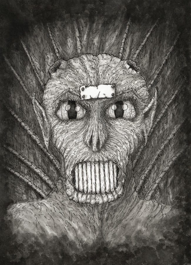 Porträt eines Fantasiedämons stock abbildung