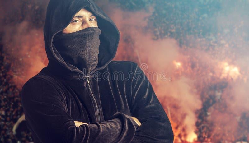 Porträt eines Fußballrowdys stockfoto
