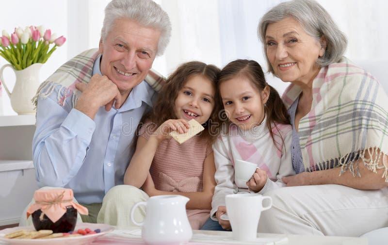Porträt eines glücklichen älteren Paares mit den Enkelkindern, die te trinken lizenzfreie stockbilder
