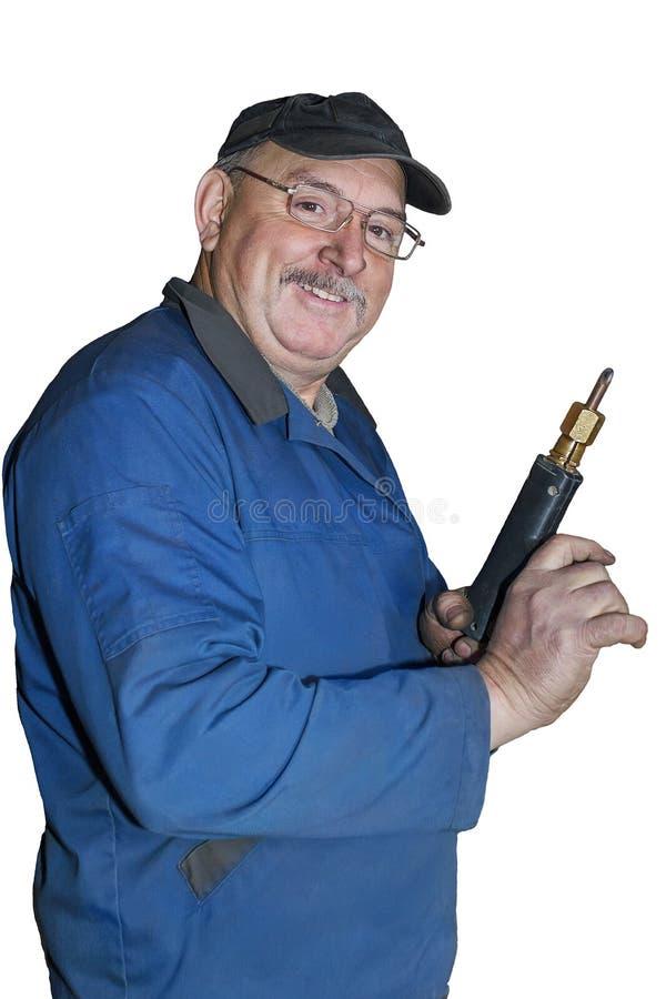 Porträt eines glücklichen Angestellten lizenzfreies stockfoto