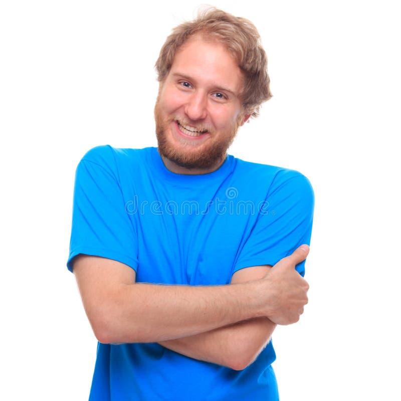 Porträt eines glücklichen bärtigen Mannes auf Weiß stockbilder
