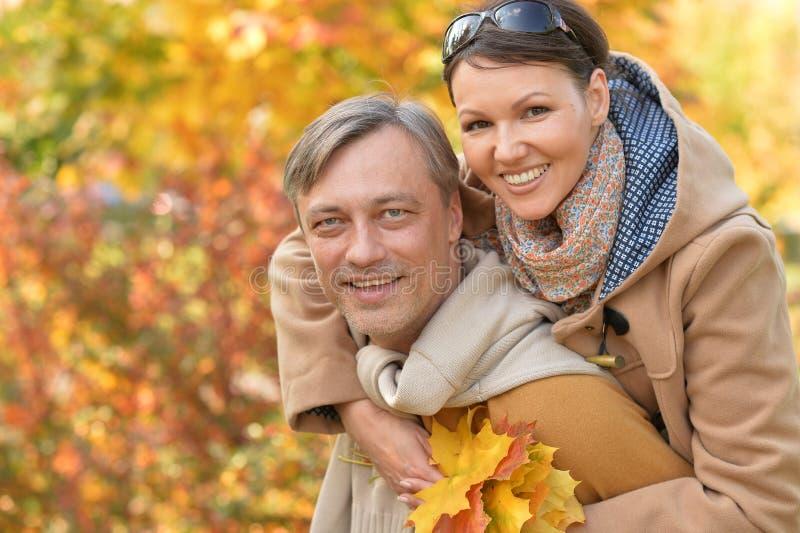 Porträt eines glücklichen Paares, das im Park im Freien steht lizenzfreie stockbilder