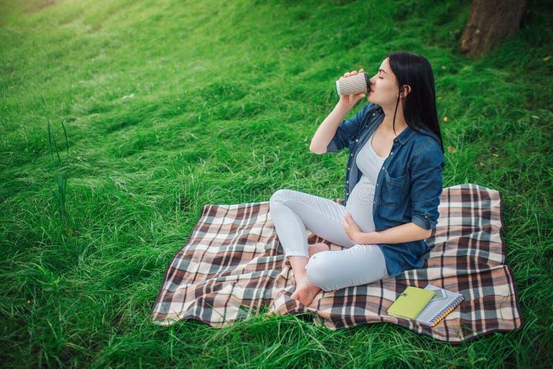 Porträt eines glücklichen schwarzen Haares und der stolzen schwangeren Frau in einer Stadt im Park Foto des weiblichen Modells ih stockbild