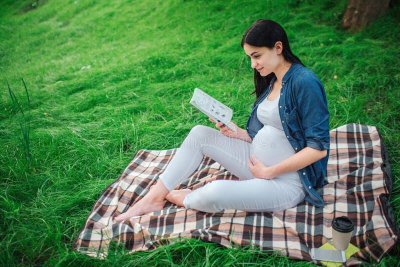 Porträt eines glücklichen schwarzen Haares und der stolzen schwangeren Frau im Park Das weibliche Modell sitzt auf Gras und der F stockbilder