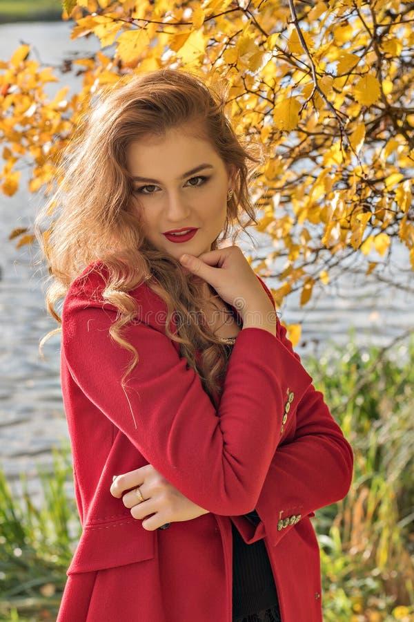 Porträt eines jungen schüchternen geheimnistuerischen Mädchens im Herbst lizenzfreies stockfoto