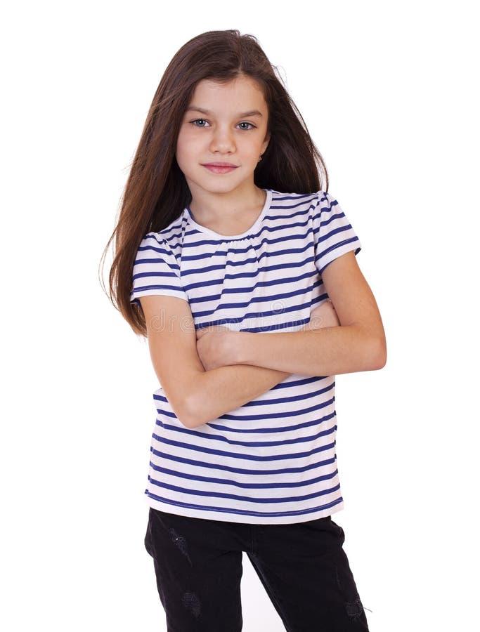Porträt eines kleinen Mädchens des reizend Brunette stockfotos
