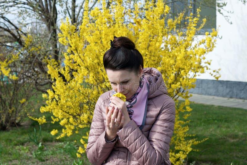 Porträt eines lächelnden Mädchens Vor dem Hintergrund eines mit gelben Blumen bepflanzten Buschs in den Händen eines Strauquets v stockfotos