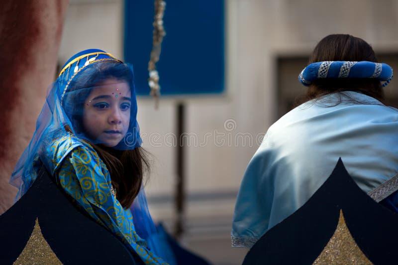 Porträt eines Mädchens, Fest der drei Könige lizenzfreies stockbild