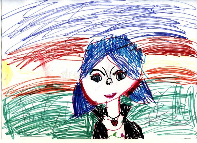 Porträt eines Mädchens Kind-` s Zeichnungen stock abbildung