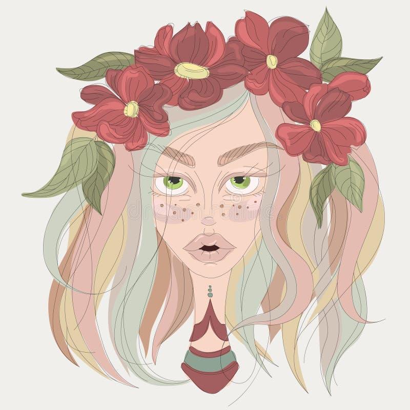 Porträt eines Mädchens mit dem bunten Haar und Blume krönen Vektor lizenzfreie abbildung