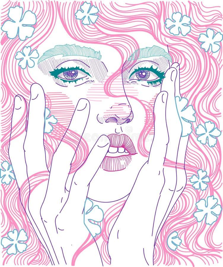 Porträt eines Mädchens mit dem rosa Haar stock abbildung