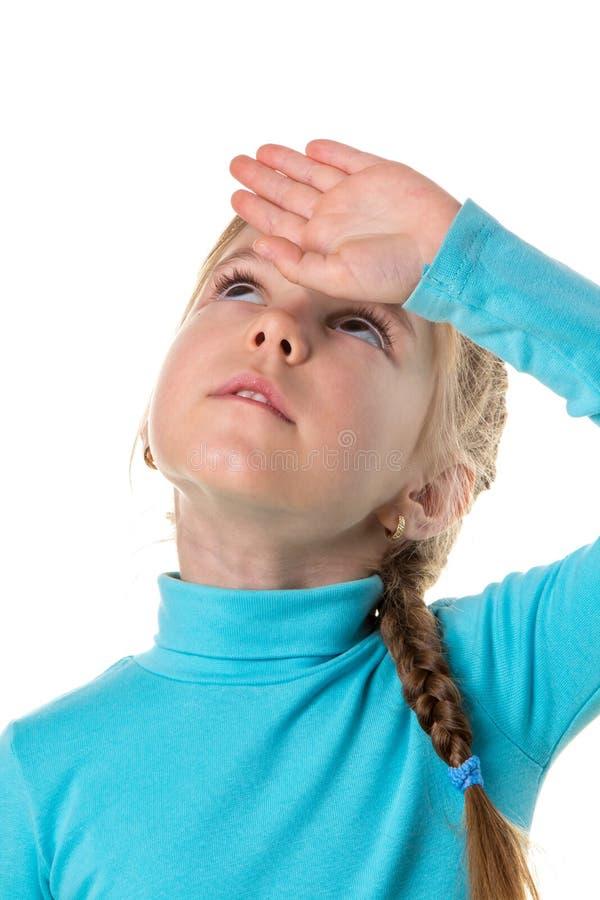 Porträt eines müden erschöpften Mädchens, weißer lokalisierter Hintergrund stockfoto