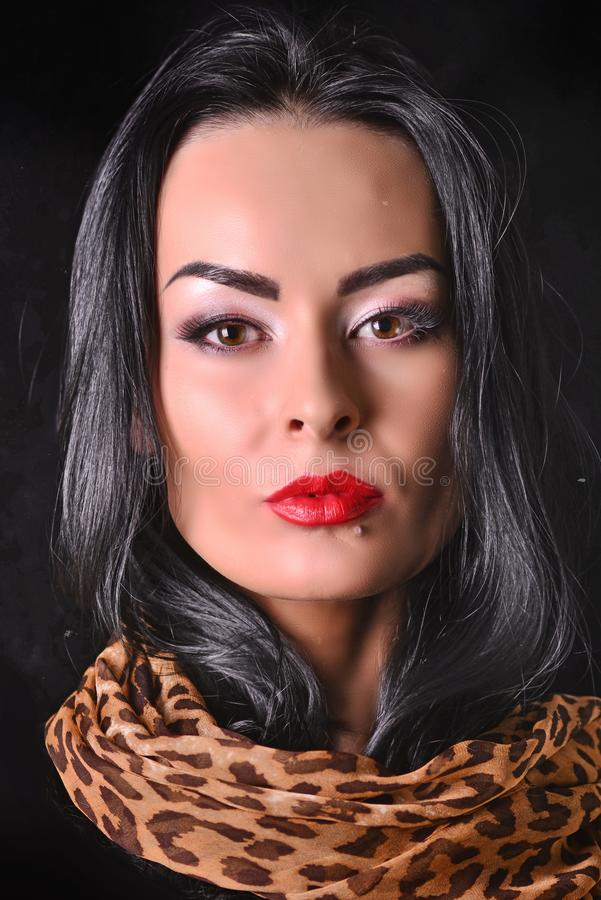 Porträt eines Modells mit dem schwarzen Haar und schönem Make-up lizenzfreie stockfotografie